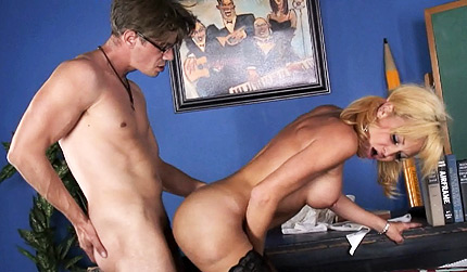 No smoking in class. Horny schoolgirl having fun with her math teacher
