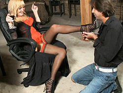 Foot fetish. Seductive tranny Olivia Love gets her foot treated right
