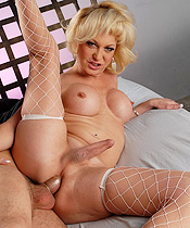 Olivia s fuckfest with tj Blonde tgirl hottie Olivia Love getting banged.
